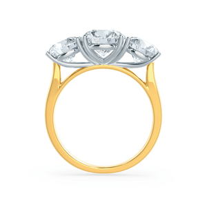 LEANORA - Round Moissanite 18k Two Tone Yellow Gold Trilogy Ring Engagement Ring Lily Arkwright