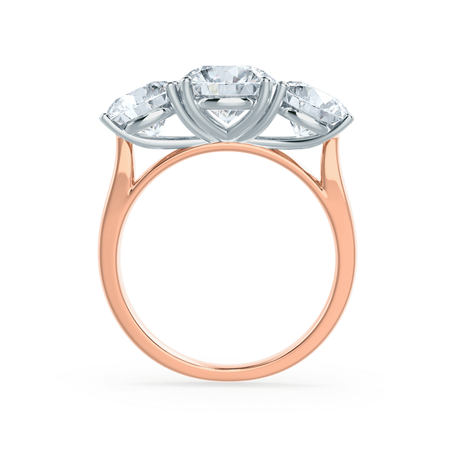 Lily Arkwright Engagement Ring LEANORA - Moissanite Two Tone 18K Rose Gold & Platinum Trilogy Ring
