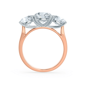 LEANORA - Moissanite Two Tone 18K Rose Gold & Platinum Trilogy Ring