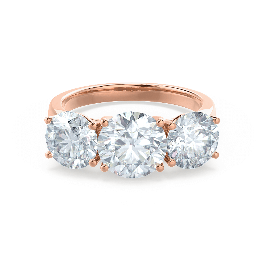 LEANORA - Moissanite 18k Rose Gold Trilogy Ring