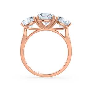 LEANORA - Round Moissanite 18k Rose Gold Trilogy Ring Engagement Ring Lily Arkwright