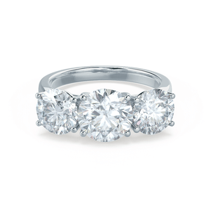 Leanora Moissanite Platinum Trilogy Ring