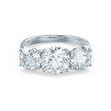 LEANORA - Round Moissanite 950 Platinum Trilogy Ring