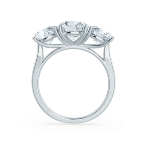 LEANORA - Round Moissanite 950 Platinum Trilogy Ring Engagement Ring Lily Arkwright
