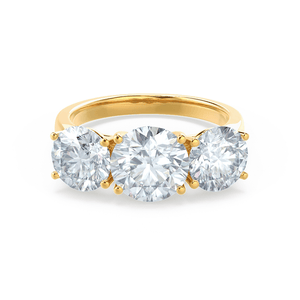 LEANORA - Round Moissanite 18k Yellow Gold Trilogy Ring Engagement Ring Lily Arkwright