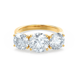 Leanora Moissanite 18k Yellow Gold Trilogy Ring