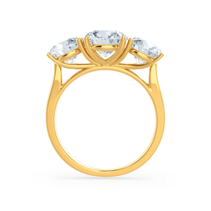 LEANORA - Moissanite 18k Yellow Gold Trilogy Ring