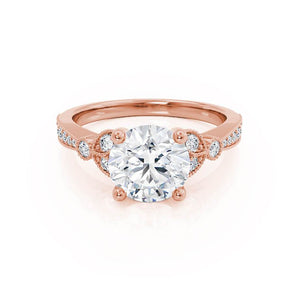 LILIANA - Moissanite 18k Rose Gold Shoulder Set Ring