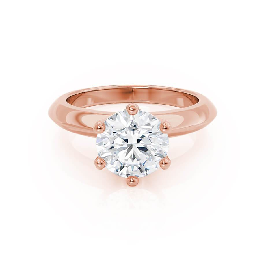 SERENA - Round Moissanite 18k Rose Gold Solitaire Ring Engagement Ring Lily Arkwright