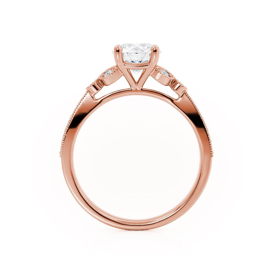 LILIANA - Round Moissanite & Diamond 18k Rose Gold Shoulder Set Ring Engagement Ring Lily Arkwright