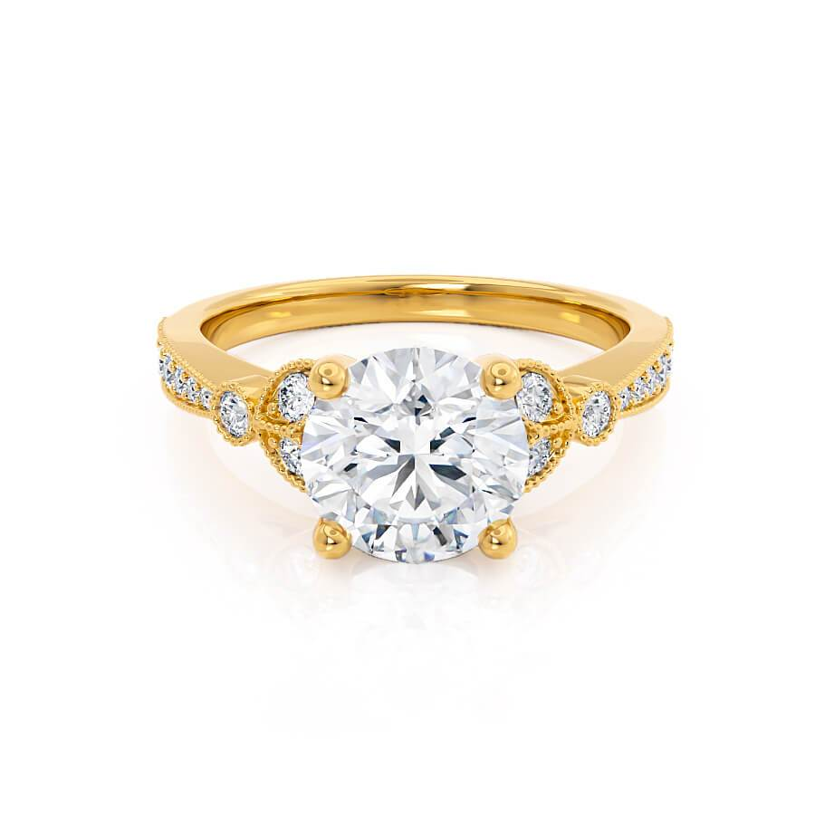 LILIANA - Round Moissanite & Diamond 18k Yellow Gold Shoulder Set Ring Engagement Ring Lily Arkwright