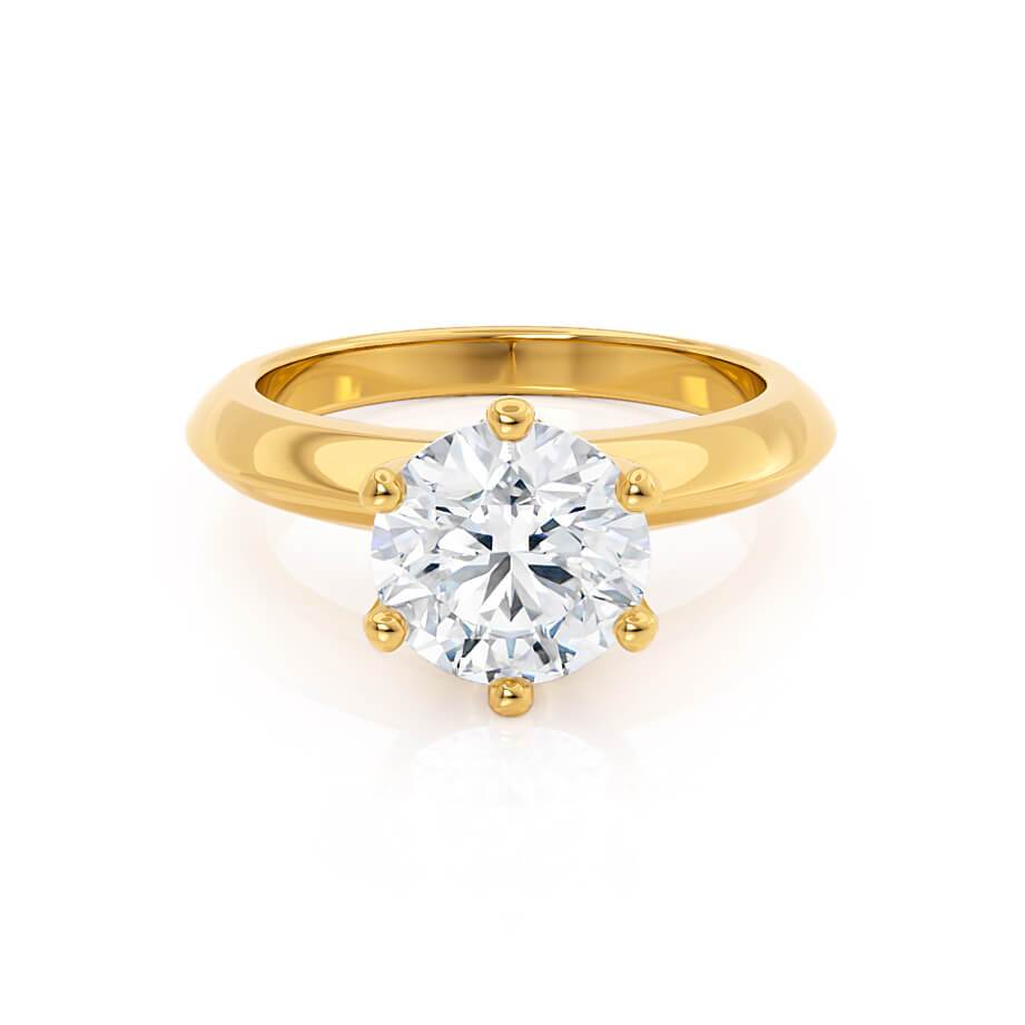 SERENA - Round Moissanite 18k Yellow Gold Solitaire Ring Engagement Ring Lily Arkwright