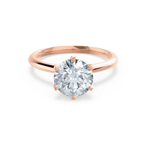 Lily Arkwright Engagement Ring LILLIE - Premium Certified Lab Diamond 6 Claw Solitaire 18k Rose Gold