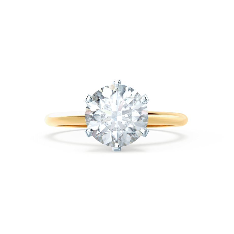 Lily Arkwright Engagement Ring LILLIE - 6 Prong Knife Edge Round Moissanite 18K Two Tone Yellow Gold Solitaire