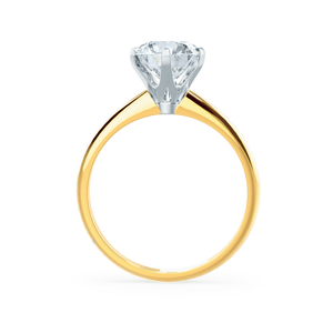 LILLIE - 6 Prong Knife Edge Round Moissanite 18K Two Tone Yellow Gold Solitaire