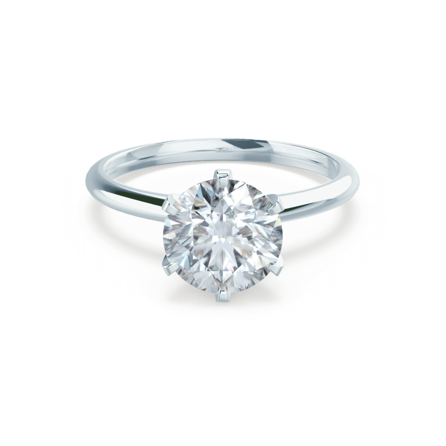 Lily Arkwright Engagement Ring LILLIE - Premium Certified Lab Diamond 6 Claw Solitaire 18k White Gold