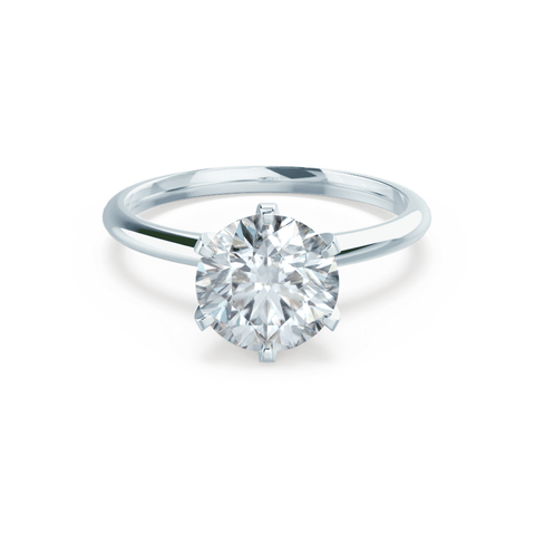 LILLIE - Round Moissanite 18k White Gold 6 Prong Knife Edge Solitaire Ring Engagement Ring Lily Arkwright