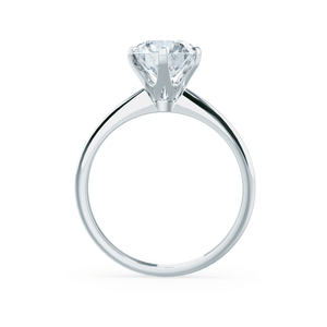 LILLIE - 6 Prong Knife Edge Round Moissanite 18k White Gold Solitaire