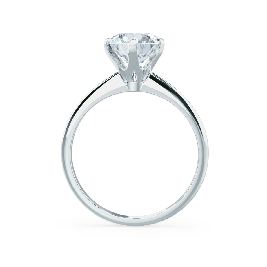 Lily Arkwright Engagement Ring LILLIE - 6 Prong Knife Edge Round Moissanite Platinum Solitaire