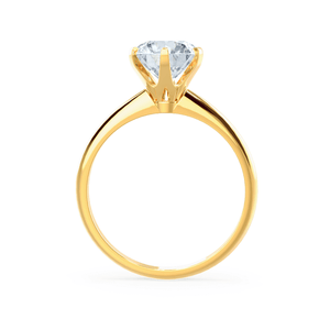 Lily Arkwright Engagement Ring LILLIE - Premium Certified Lab Diamond 6 Claw Solitaire 18k Yellow Gold