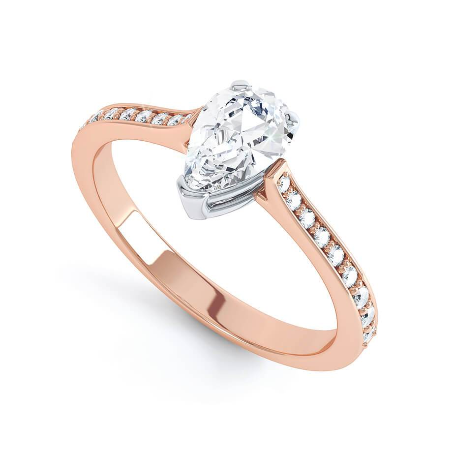 Lisette Charles & Colvard Moissanite & Diamond Two Colour 18K Rose Gold Solitaire