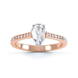 Lily Arkwright Engagement Ring LISETTE - Charles & Colvard Moissanite & Diamond Two Colour 18K Rose Gold Solitaire