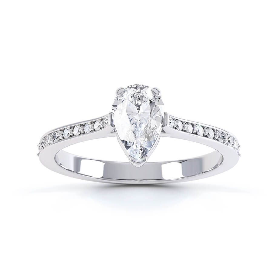 Lisette Charles & Colvard Moissanite & Diamond 18k White Gold Pear Cut Solitaire