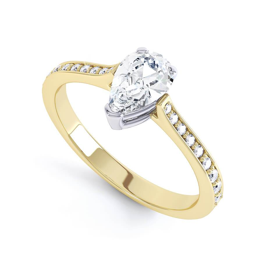 LISETTE - Charles & Colvard Moissanite & Diamond 18k Two Tone Gold Pear Cut Solitaire