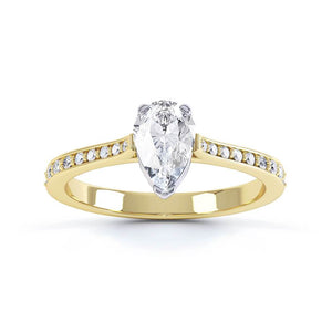 Lily Arkwright Engagement Ring LISETTE - Charles & Colvard Moissanite & Diamond 18k Two Tone Gold Pear Cut Solitaire