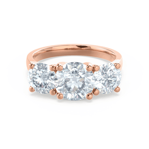 Lorella Charles & Colvard Moissanite 3 Stone Set 18k Rose Gold Trilogy Ring