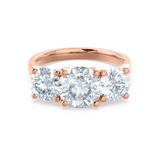 LORELLA - Round Moissanite 18k Rose Gold Trilogy Ring Engagement Ring Lily Arkwright