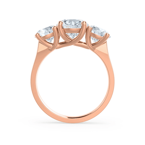 LORELLA - Moissanite 3 Stone Set 18k Rose Gold Trilogy Ring