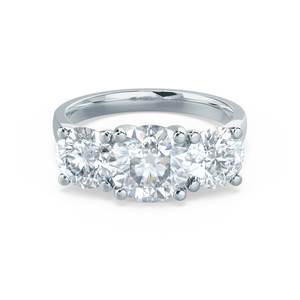 LORELLA - Moissanite 3 Stone Set Platinum Trilogy Ring