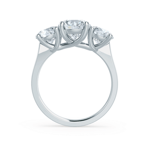 LORELLA - Round Moissanite 18k White Gold Trilogy Ring Engagement Ring Lily Arkwright
