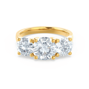 Lorella Charles & Colvard Moissanite 3 Stone Set 18k Yellow Gold Trilogy Ring