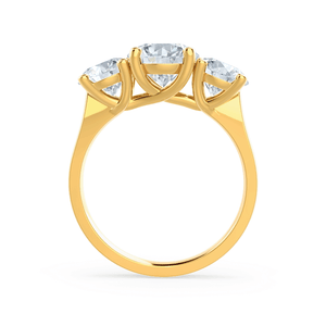 LORELLA - Moissanite 3 Stone Set 18k Yellow Gold Trilogy Ring