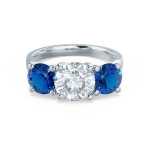 Lily Arkwright Engagement Ring LORELLA - Moissanite & Lab Grown Sapphire Platinum Trilogy
