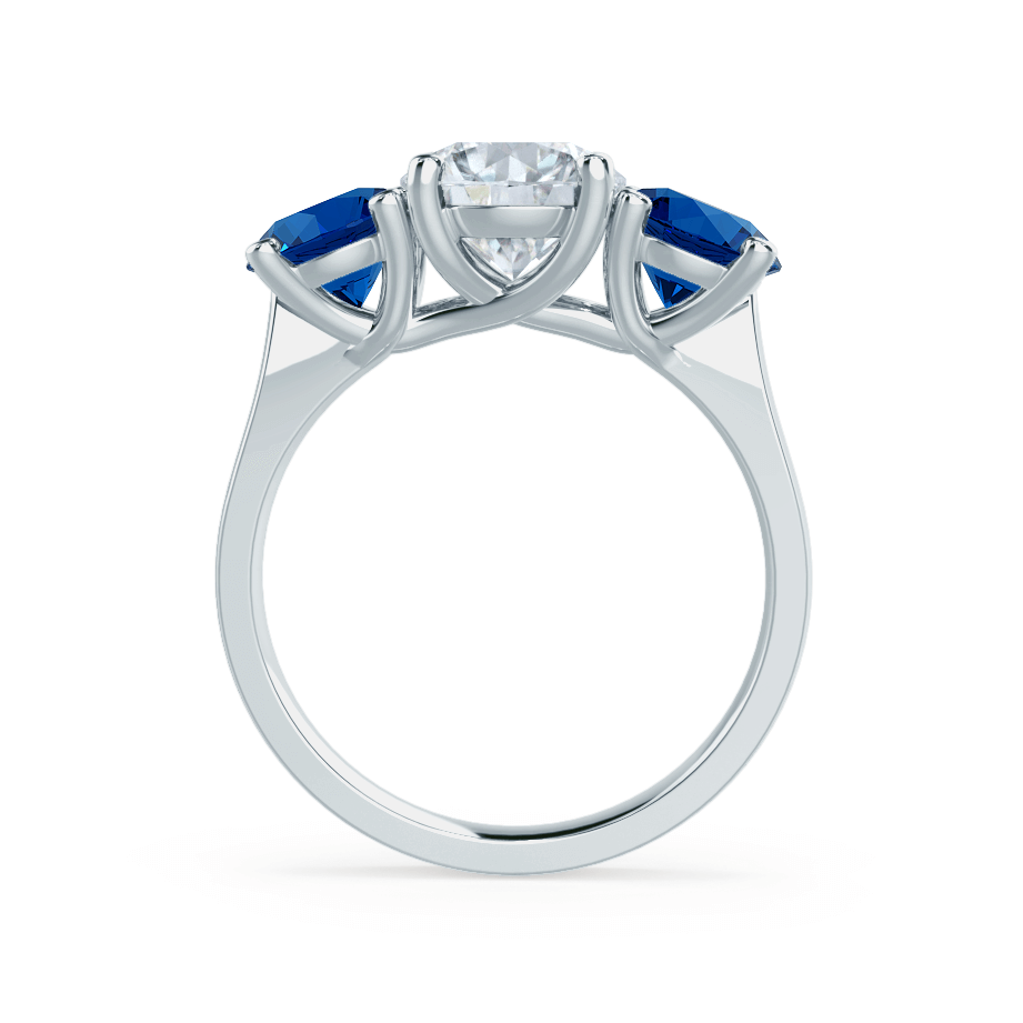 LORELLA - Moissanite & Lab Grown Sapphire 18k White Gold Trilogy