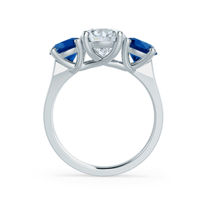 Lily Arkwright Engagement Ring LORELLA - Moissanite & Lab Grown Sapphire 18k White Gold Trilogy