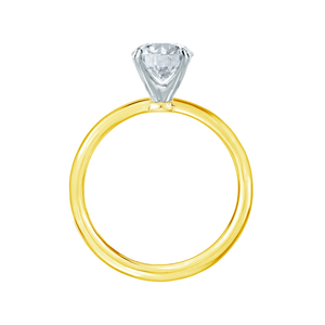 Iris Oval Charles & Colvard Moissanite Two Tone Platinum & 18k Yellow Gold Petite Channel Set