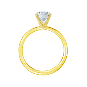 IRIS - Round Charles & Colvard Moissanite 18k Yellow Gold Petite Channel Set