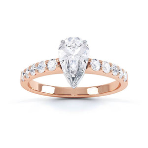 OLIVETT - Charles & Colvard Moissanite & Diamond 18K Rose Gold Solitaire Ring
