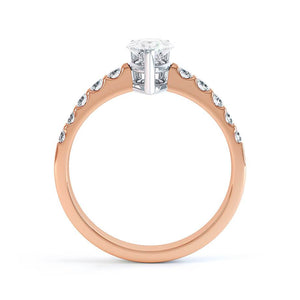 OLIVETT - Charles & Colvard Moissanite & Diamond 18K Two Tone Rose Gold Solitaire Ring