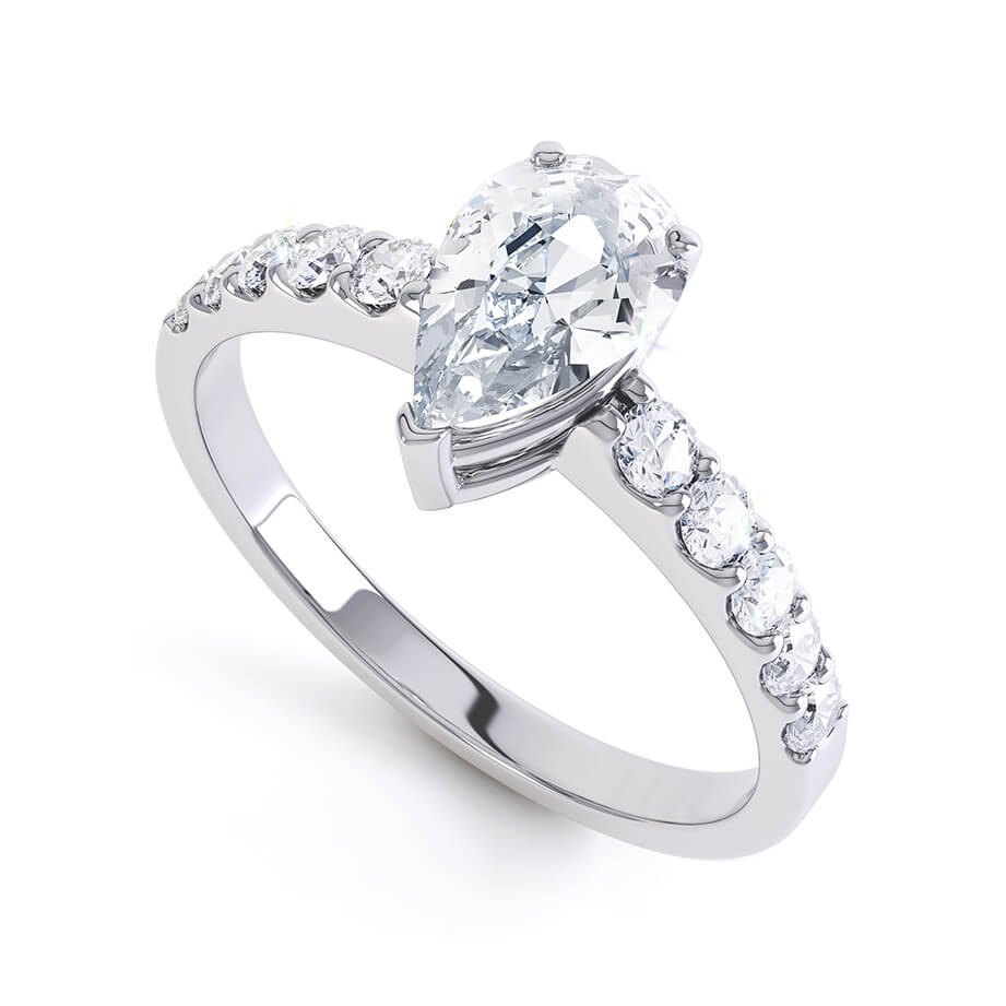 OLIVETT - Pear Moissanite & Diamond 18k White Gold Solitaire Ring Engagement Ring Lily Arkwright