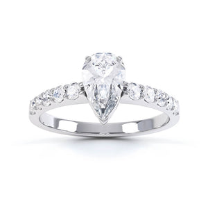 OLIVETT - Charles & Colvard Moissanite & Diamond 18k White Gold Solitaire Ring