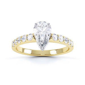 OLIVETT - Charles & Colvard Moissanite & Diamond Two Tone 18k Gold Solitaire Ring