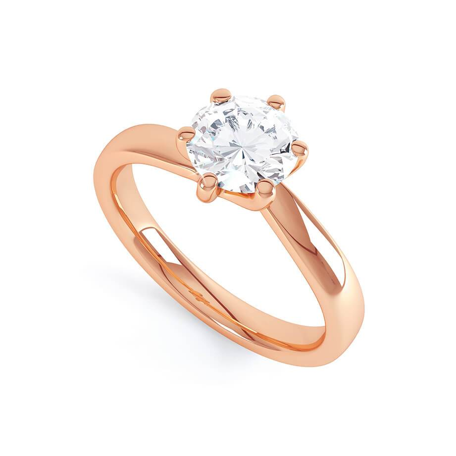 Lily Arkwright Engagement Ring OLIVIA - Twist Charles & Colvard Moissanite 18k Rose Gold Solitaire Ring