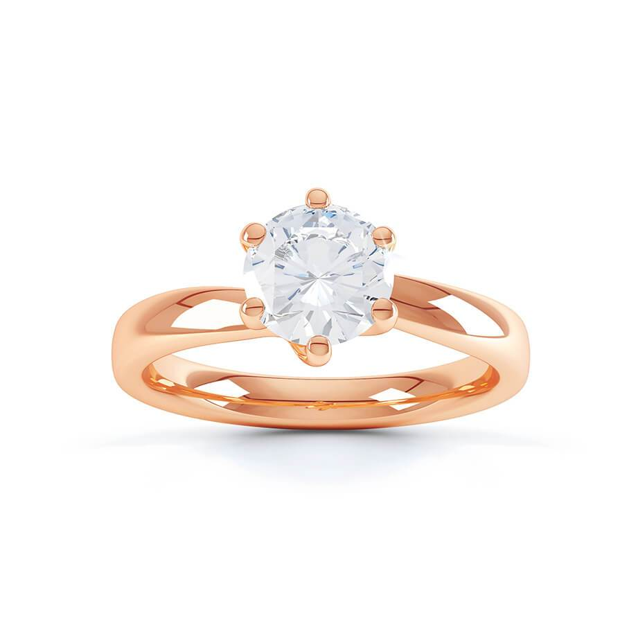 OLIVIA - Round Moissanite 18k Rose Gold Twist Solitaire Ring Engagement Ring Lily Arkwright
