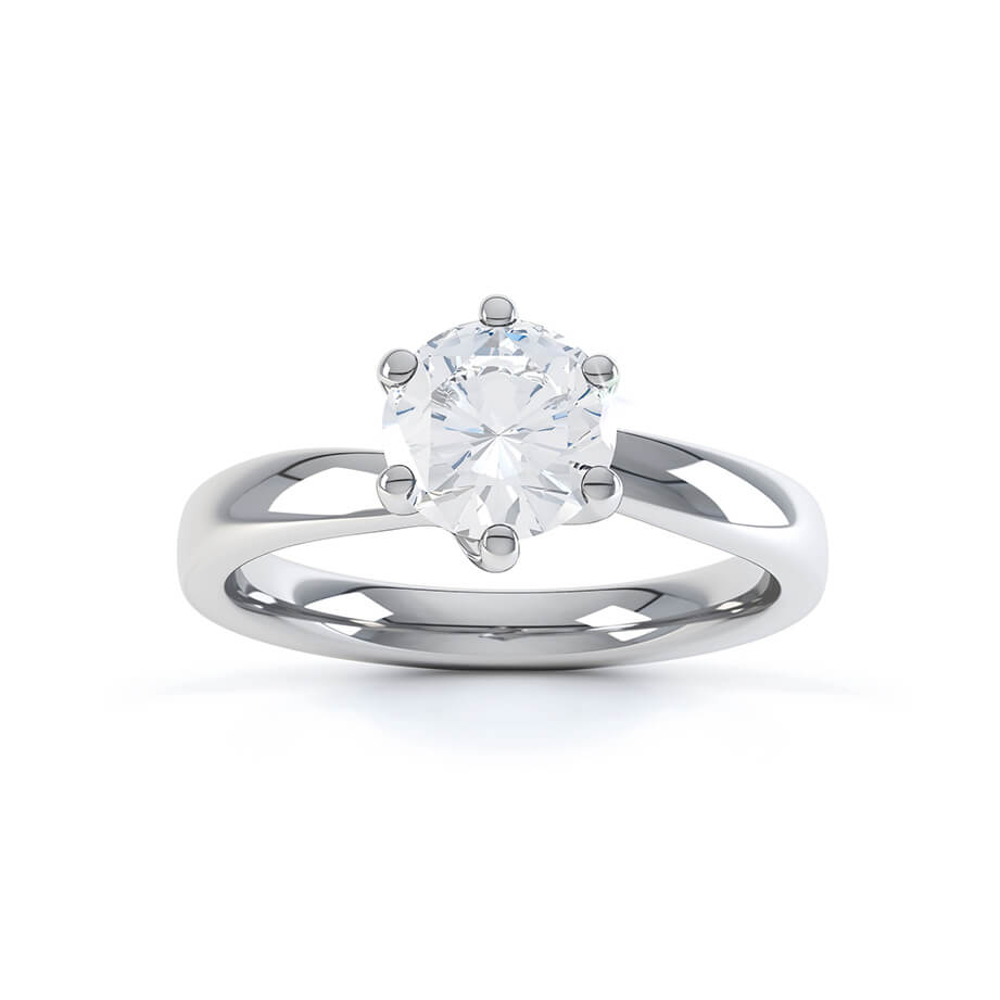Lily Arkwright Engagement Ring OLIVIA - Twist Charles & Colvard Moissanite 18k White Gold Solitaire Ring