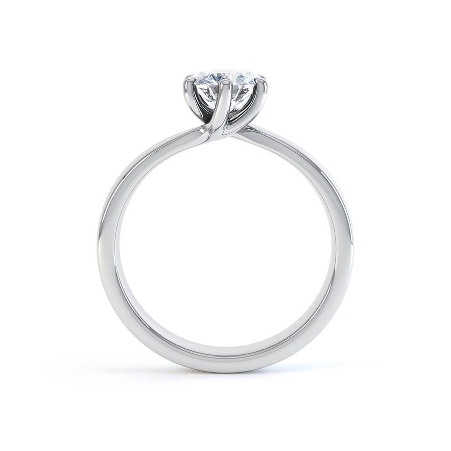 OLIVIA - Round Moissanite 950 Platinum Twist Solitaire Ring Engagement Ring Lily Arkwright